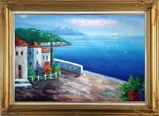 Mediterranean Seashore House Oil Painting Naturalism Gold Wood Frame with Deco Corners 31 x 43 inches