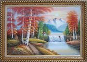 Small Waterfall Scenery in Alaska Colorful Autumn Oil Painting Landscape Naturalism Exquisite Gold Wood Frame 30 x 42 inches