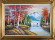 Small Waterfall Scenery in Alaska Colorful Autumn Oil Painting Landscape Naturalism Gold Wood Frame with Deco Corners 31 x 43 inches