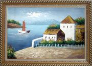 Beach House Oil Painting Mediterranean Naturalism Exquisite Gold Wood Frame 30 x 42 inches