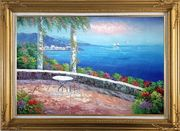 Seashore Scene, Sunshine of Mediterranean Oil Painting Naturalism Gold Wood Frame with Deco Corners 31 x 43 inches