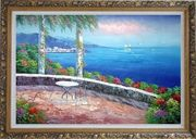 Seashore Scene, Sunshine of Mediterranean Oil Painting Naturalism Ornate Antique Dark Gold Wood Frame 30 x 42 inches
