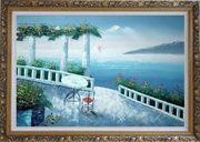 Mediterranean Fantasy Seashore Garden Oil Painting Impressionism Ornate Antique Dark Gold Wood Frame 30 x 42 inches