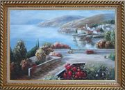 Flower Garden At Mediterranean Coast Oil Painting Naturalism Exquisite Gold Wood Frame 30 x 42 inches