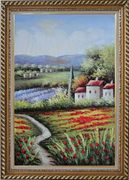 Gorges Tuscany Red Poppy Flower Fields Oil Painting Landscape Italy Naturalism Exquisite Gold Wood Frame 42 x 30 inches