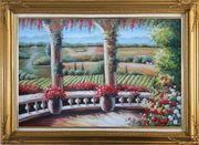 Tuscany Patio Surrounded by Vineyard Winery Oil Painting Landscape Field Italy Naturalism Gold Wood Frame with Deco Corners 31 x 43 inches