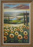 Tuscany Sunflower Field View Oil Painting Landscape Naturalism Exquisite Gold Wood Frame 42 x 30 inches