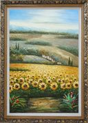 Sunflower Field Scenery Oil Painting  Ornate Antique Dark Gold Wood Frame 42