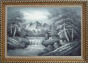 Black and White Cascade, Small House Scene Oil Painting Landscape River Naturalism Exquisite Gold Wood Frame 30 x 42 inches