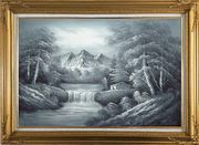 Black and White Cascade, Small House Scene Oil Painting Landscape River Naturalism Gold Wood Frame with Deco Corners 31 x 43 inches