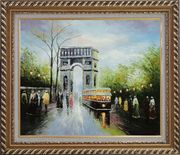 Arc de Triomphe and Avenue des Champs Elysees Oil Painting Cityscape France Impressionism Exquisite Gold Wood Frame 26 x 30 inches