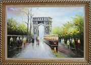 Arc de Triomphe and Avenue des Champs Elysees Oil Painting Cityscape France Impressionism Exquisite Gold Wood Frame 30 x 42 inches