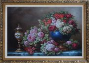 Still Life of Colorful Flowers in Blue Vase With Exquisite Bronze Lamp Oil Painting Bouquet Classic Ornate Antique Dark Gold Wood Frame 30 x 42 inches
