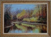 Reflections of Beautiful Golden Trees in Quiet River Oil Painting Landscape Autumn Naturalism Exquisite Gold Wood Frame 30 x 42 inches