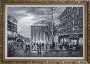 Black and White Paris Street Scene Near Madeleine Oil Painting Cityscape Impressionism Ornate Antique Dark Gold Wood Frame 30 x 42 inches