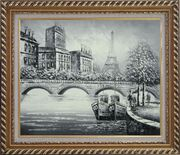 Black White Eiffel Tower Seine River Bridge Oil Painting Cityscape Impressionism Exquisite Gold Wood Frame 26 x 30 inches