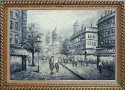 Black and White Basilica of the Sacred Heart of Paris Oil Painting Cityscape Impressionism Exquisite Gold Wood Frame 30 x 42 inches