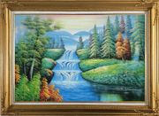 Water Falls in Green Spring with Forest and Mountain Oil Painting Landscape Waterfall Naturalism Gold Wood Frame with Deco Corners 31 x 43 inches