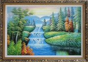 Water Falls in Green Spring with Forest and Mountain Oil Painting Landscape Waterfall Naturalism Ornate Antique Dark Gold Wood Frame 30 x 42 inches