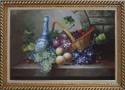 Still Life of Grapes, Peaches, Basket and Blue Pattern White Jar Oil Painting Fruit Classic Exquisite Gold Wood Frame 30 x 42 inches