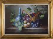 Still Life of Grapes, Peaches, Basket and Blue Pattern White Jar Oil Painting Fruit Classic Gold Wood Frame with Deco Corners 31 x 43 inches
