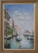 Colourful River Scene with Boats in Venice Oil Painting Italy Impressionism Exquisite Gold Wood Frame 42 x 30 inches