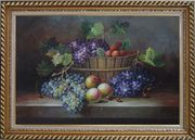 Cherry, Purple And Green Grapes, Peaches and Pears In a Basket Oil Painting Still Life Fruit Classic Exquisite Gold Wood Frame 30 x 42 inches