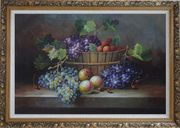 Cherry, Purple And Green Grapes, Peaches and Pears In a Basket Oil Painting Still Life Fruit Classic Ornate Antique Dark Gold Wood Frame 30 x 42 inches