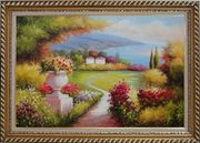 Garden of Paradise with Amazing Sea View at Mediterranean Coast Oil Painting Naturalism Exquisite Gold Wood Frame 30 x 42 inches