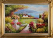 Garden of Paradise with Amazing Sea View at Mediterranean Coast Oil Painting Naturalism Gold Wood Frame with Deco Corners 31 x 43 inches