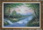 Flowing Water Stream and Forest Oil Painting Landscape River Naturalism Ornate Antique Dark Gold Wood Frame 30 x 42 inches