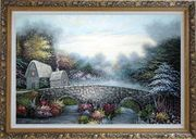 Stretched Flowers, Stone Bridge and Cabins Oil Painting Garden Naturalism Ornate Antique Dark Gold Wood Frame 30 x 42 inches