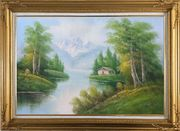 Riverside Cottage Under Snow Mountain Oil Painting Landscape Naturalism Gold Wood Frame with Deco Corners 31 x 43 inches