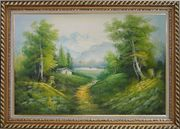 A Peaceful Trail in Spring Countryside Oil Painting Landscape River Naturalism Exquisite Gold Wood Frame 30 x 42 inches