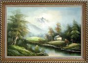 Tranquility Oil Painting Landscape River Naturalism Exquisite Gold Wood Frame 30 x 42 inches