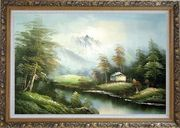 Tranquility Oil Painting Landscape River Naturalism Ornate Antique Dark Gold Wood Frame 30 x 42 inches