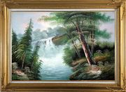 Fantastic Waterfall Scenery Oil Painting Landscape Naturalism Gold Wood Frame with Deco Corners 31 x 43 inches