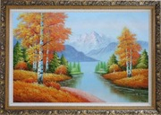 Riverside Autumn-time Golden Aspen Forest Scenery Oil Painting Landscape Tree Naturalism Ornate Antique Dark Gold Wood Frame 30 x 42 inches