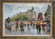 People Walk on Paris Street at Dusk Oil Painting Cityscape France Impressionism Ornate Antique Dark Gold Wood Frame 30 x 42 inches