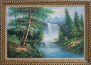 Great Waterfall Scenery, Trees Oil Painting Landscape Naturalism Exquisite Gold Wood Frame 30 x 42 inches