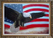 Flying Bald Eagle / American Flag Oil Painting Animal Naturalism Ornate Antique Dark Gold Wood Frame 30 x 42 inches
