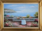 Summer Retreat at Mediterranean Oil Painting Naturalism Gold Wood Frame with Deco Corners 31 x 43 inches