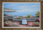 Summer Retreat at Mediterranean Oil Painting Naturalism Ornate Antique Dark Gold Wood Frame 30 x 42 inches