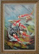 Eight Koi Swimming In Water Oil Painting Animal Marine Life Fish Asian Exquisite Gold Wood Frame 42 x 30 inches