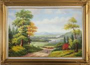 Grandma and I Walking in Peaceful Countryside Landscape Oil Painting River Classic Gold Wood Frame with Deco Corners 31 x 43 inches