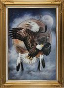 Native American Art of Bald Eagles Oil Painting Animal Modern Gold Wood Frame with Deco Corners 43 x 31 inches