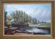 River Voyage Oil Painting Landscape Classic Exquisite Gold Wood Frame 30 x 42 inches