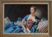Lady In Gorgeous Costumes Reclining On Bed With Book Oil Painting Portraits Woman Classic Exquisite Gold Wood Frame 30 x 42 inches