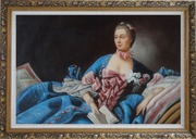 Lady In Gorgeous Costumes Reclining On Bed With Book Oil Painting Portraits Woman Classic Ornate Antique Dark Gold Wood Frame 30 x 42 inches