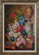 Basket of Flowers With Round Pedestal and Brown Ceramics on Decorative Plinth Oil Painting Still Life Classic Ornate Antique Dark Gold Wood Frame 42 x 30 inches